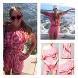 Coral Gingham One Shoulder Matching Set with Tassel Detail & Tie Waist