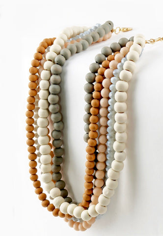 MultiStrand Mixed Wood and Crystal Bead Short Statement Necklace (RESTOCK ORDER SHIPS 4/1)