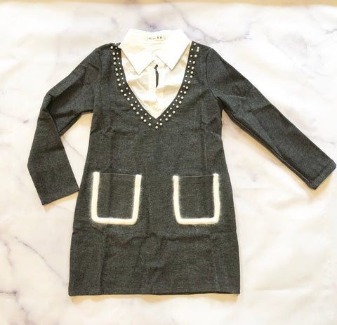 Shirt Collar Long Sleeve Pearl Embellished Dress