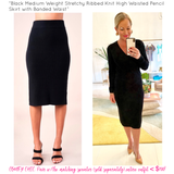 Black Medium Weight Stretchy Ribbed Knit High Waisted Pencil Skirt with Banded Waist