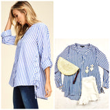 Blue White Stripe Button Down High Low Top with Side Ties