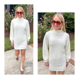 Winter White Cowl Neck Sweater Dress or Tunic with Pleated Balloon Sleeves