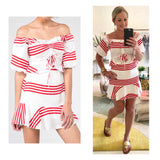 Cherry Red White Stripe Tie Front Ruffle Trim On OR Off the Shoulder A-Line Skater Dress