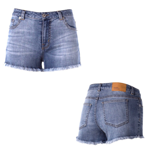Medium Wash Lightweight Distressed Denim Shorts