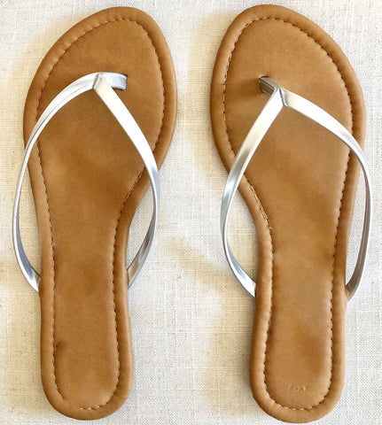 The Perfect Little Silver Thong Sandals