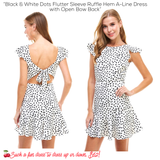 Black & White Dots Flutter Sleeve Ruffle Hem A-Line Dress with Open Bow Back