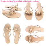Candy Apple Red VALENTINO Inspired Rockstud Bow Sandals