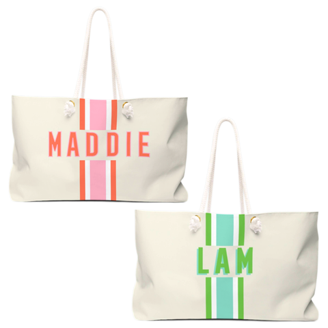 Clairebella Aqua or Pink Stripe Stain Resistant Coated Canvas Travel Bags Customizable with Name, Initials, City or ZIP