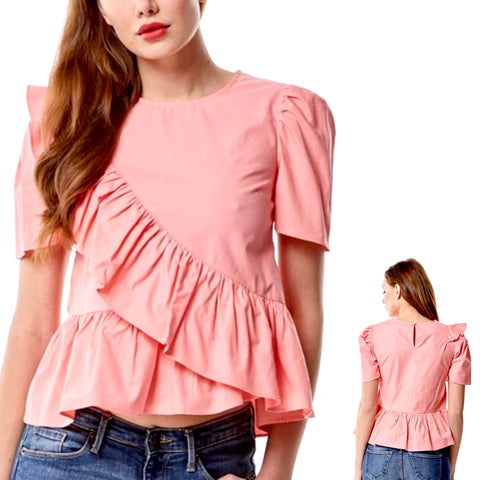 Peach Short Sleeve Peplum Top with Cascading Ruffle Hem
