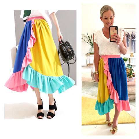 Pink Yellow Blue & Aqua Color Block Asymmetrical Ruffle Midi Skirt