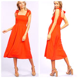 Tomato Red Smocked A-Line Midi Dress with Shoulder Ties