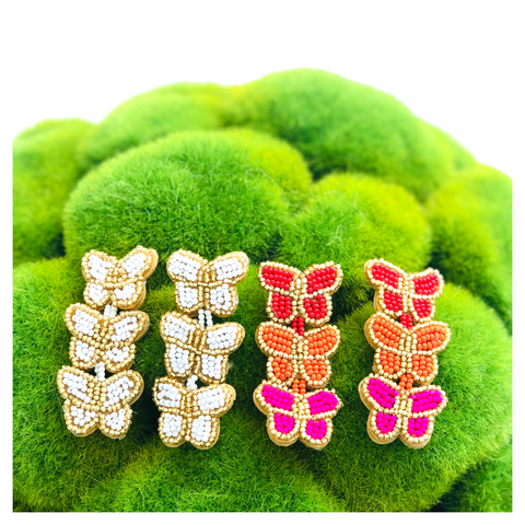 Fuchsia or White & Gold Beaded Triple Butterfly Earrings
