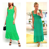 Bright Green & Subtle Floral Print Drop Ruffle Hem Maxi Dress with Sweetheart Ruched Bust & Straps