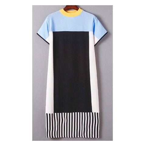 Black White Yellow & Baby Blue Color Block Knit Shift Dress
