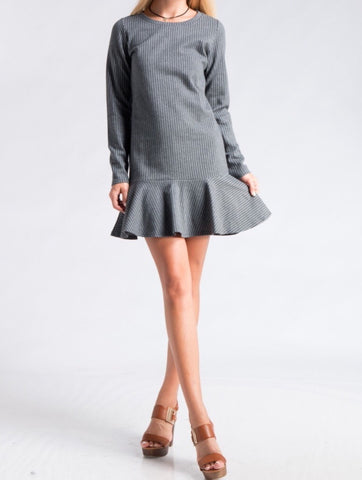 Vertical Stripe Ruffle Hem Shift Dress, Grey