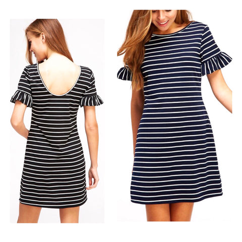 Navy White Stripe Ruffle Bell Sleeve Knit Shift Dress with Scoop Back