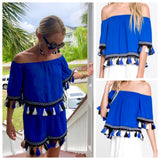 Royal Blue On OR Off the Shoulder Top with Black & White Tassels (Matching Shorts Sold Separately)