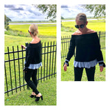 Black Shirttail Peplum Hem Off the Shoulder Sweater with Tie Sleeves