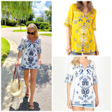 Mustard OR White & Blue Embroidered 1/2 Sleeve V-Neck Tops