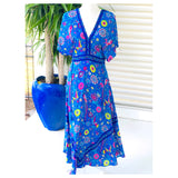 Bright Blue Yellow & Pink Floral Print Kimono Sleeve Maxi Dress with Semi Open Back