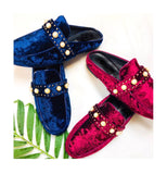 Sapphire Blue or Wine Red Embellished Velvet Mules