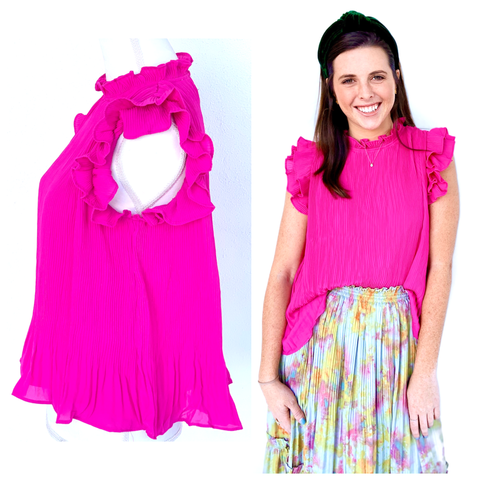 Magenta Pleated Ruffle Sleeve Top with Keyhole Back