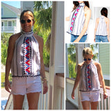 White High Neck Halter Top with Blue Stripes & Magenta Embroidery, Pom Pom Hem, Button Back & Tie