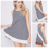 Black White Stripe Sleeveless Longer Top with Ruffle Hem