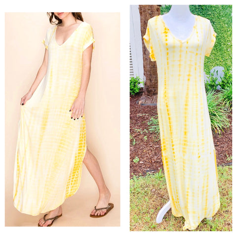 Yellow & White Tie Dye Short Sleeve Knit Maxi Dress with Banded Waist