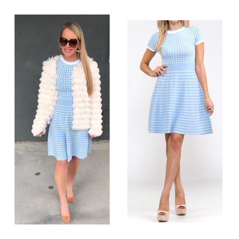 Baby Blue & White Check Knit A-Line Dress
