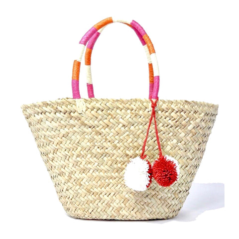 Woven Straw Tote with Pink & Orange Wrapped Handles & Detachable PomPom