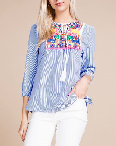 SeersBlue White Stripe Top with Embroidery Detail & Tassel Tie