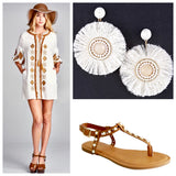 White and Gold Embroidered Tunic Dress with Tassel Tie & Fringe Detail