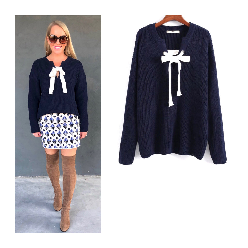 b9d75ce889b2 Navy Ribbed Knit Sweater with Front White Lace Up Self Tie - James ...