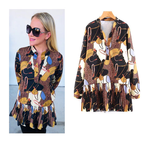 Black Ivory Pleated Hem Equestrian Print Long Sleeve Top