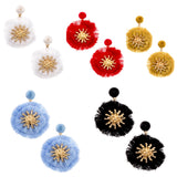 Circle Fringe Post Mount Earrings with Gold Starburst in 5 Colors