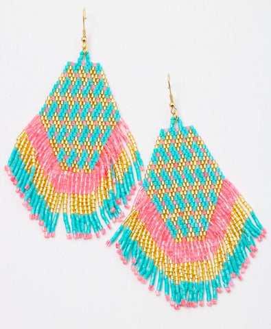 Turquoise Pink and Gold Beaded Fringe Earrings