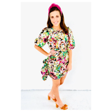 Ivory Green Magenta Multi Floral Puff Sleeve Ruched Dress with Asymmetrical Front Ruffle