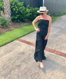 Pewter or Black Strapless Palazzo Jumpsuit with Ruffle Leg