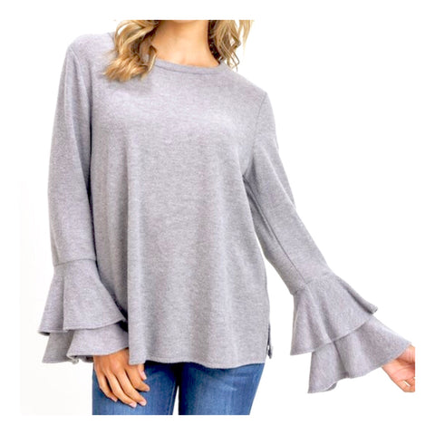 Grey Bell Sleeve Sweater (feels like cashmere)