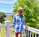 Blue White Buffalo Check Long OR 3/4 Sleeve Top with Lace Up Front & Slightly Frayed Hem