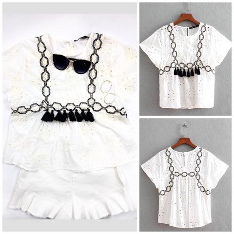 Off White Short Sleeve Eyelet Top with Black Embroidery & Tassels