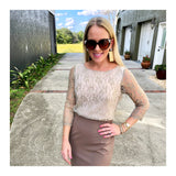 Ivory & Metallic Gold Lace & Dark Taupe Contrast 3/4 Sleeve Midi Cocktail Dress with Exposed Gold Back Zip