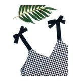 Black Gingham Sleeveless Top with Black Shoulder Ties