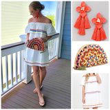White Off the Shoulder Dress with Coral Blue & Yellow RicRac Trim