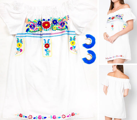 "White Off the Shoulder ""Mexican Textile"" Style Dress with Vibrant Floral Embroidery"