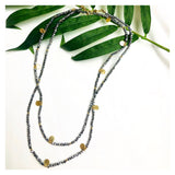 "Graphite Grey 32"" Druzy Multi Gold Charm Necklace"