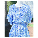 Blue & White Floral Print Short Sleeve Ruffle Hem Dress with Smocked Tie Waist