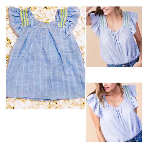 Blue Flutter Sleeve Top With Yellow Smocking Shoulder Embroidery