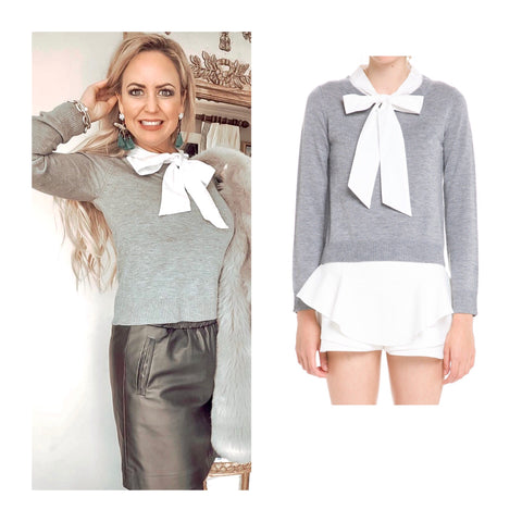 Grey Fine Knit Bow Tie Top with Ribbed Waist, Sleeve & Neck Hem Contrast